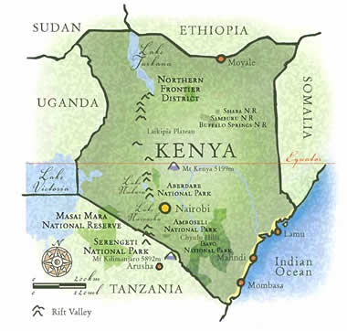 east africa map kenya